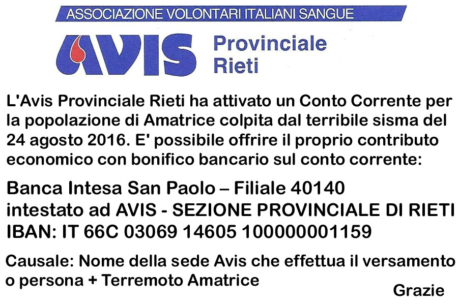 Avis Provinciale Rieti attiva conto corrente raccolta fondi